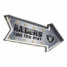 "Oakland Raiders Arrow Marquee Sign - Light Up - Room Bar Decor NEW 18"""