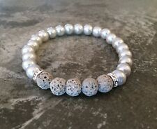 Essential Oil Diffuser Lava Rock Bracelet Aromatherapy Gray Faux Pearl Bling
