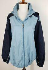 Consensus Sport Womens L Blue Wind Breaker Jacket w/ Hood Pockets Lined Toggles