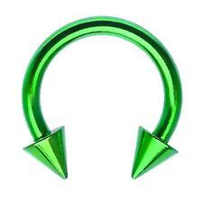 "Horseshoe Ear Lip 14 Gauge 3/8"" w/Spikes 4mm Titanium Green Body Jewelry"