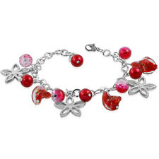 Red Pearl Glass Bead Flower Star Charm Bracelet nickel free quality jewellery UK