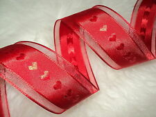 3mt X 38mm Wire Edge Red Hearts Shimmer Ribbon Wedding Valentines DIY crafting