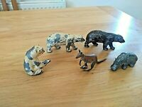 VINTAGE LEAD HOLLOW ANIMALS FIGURES X 5 Polar Bears,Kangaroo,Hippo