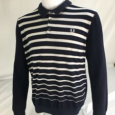 Fred Perry mens polo shirt XL Extra large Long Sleeve Jumper Stripped Navy White
