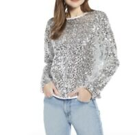 Something Navy Women's Silver Sequin Top Size 1X Long Sleeve