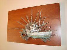 Robert Scott Vintage Bronze Sculpture Sunset Fishing Boat Mounted On Cherry Wood