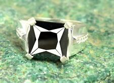 Square Cut 6.87 Ct Certified Black Diamond Solitaire Band Ring Ideal Gift Item