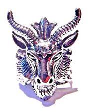 BAPHOMET RING Goat Head silver Satanic devil demon pentacle pentagram sz 9 3E