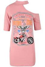 Women Ladies Chocker Neck Rock America USA One Shoulder Long Tunic T Shirt Dress