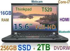 """Thinkpad T520 15.6"""" FHD i7-2.70GHz (256GB SSD + 2TB + DVDRW) 16GB BT CAM HDMI"""