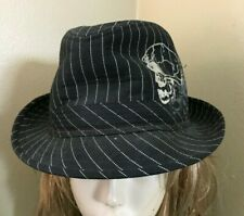 Black Pinstripe Skull w/ Wings Embroidered Fedora Trilby Gangster Hat Adult M/L