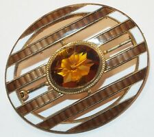 Enamel Lines Oval Brooch Pin Antique Victorian Amber Glass White&Brown Guilloche