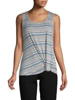 Max Studio 157779 Women's Striped Sleeveless Tank Top Grey/Blue Sz. Small