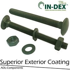 M10 GREEN EXTERIOR CARRIAGE BOLTS NUTS WASHER FENCING ROOFING LANDSCAPE DECKING