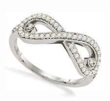 10k Oro Blanco Diamante Infinity Anillo .35ct Banda Símbolo de Amor Eterno