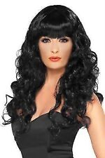Long Black Smiffy's Siren Curly Wig With Fringe - Fancy Dress Ladies Smiffys