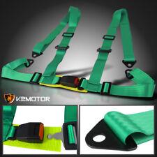 Green Racing Seat Belt Buckle 4Pt 4 Point Nylon Shoulder Strap Safety Harness