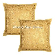 Indian Cushion Cover Art Deco Embroidered Multi Cotton Throw Pillow Case Cover