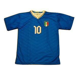 Italy Soccer Jersey Top Totto #10 Mens Small Cortese Pietro Blue Football