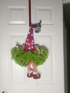 🎄SANTAS ELVES 🎄CHRISTMAS DECO MESH DOOR WREATH! HANDMADE! 🎄Lighted