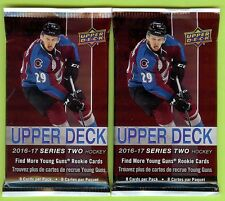 LOT OF (2) PACKS 2016-17 UPPER DECK S2 HOCKEY RELIC, PATCH OR AUTO HOT PACK