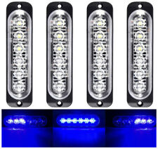 4pcs Blue 6 LED Car Truck Emergency Beacon Warning Hazard Flash Strobe Light Bar