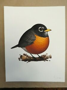 Mike Mitchell, American Robin Print, Fat Bird, Signed, Numbered, nt Mondo