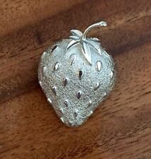Vintage 1960 Signed Sarah Coventry  STRAWBERRY ICE Fruit Pin Brooch  Silver