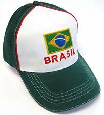 Brasil White Green Soccer Country Pride Hat Cap Text Flag Adult Men's Adjustable