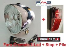 Kit Faro/Fanale Cromato 3-Led BTA + Stop a Parafango per Bici 20-24-26 Graziella