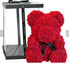 Ships From USA RED Rose Teddy Bear Gift Artificial Flower size 25CM + Gift Box