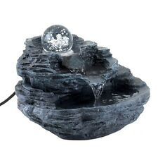 Clear Spinning Orb Rock Design Table Desk Water Fountain
