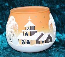 Gläschen fürs Teelicht aus Glas orange Weihnachten handbemalt