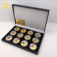 12pc Dragon Ball Goku Vegeta Frieza Super Saiyan Gold Coins In Box Souvenir gift