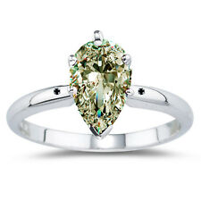 1.46ct VVS1/-OFF WHITE PEAR MOISSANITE DIAMOND.925 STERLING SILVER RING