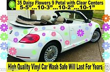 VW  Beetle  DAISY FLOWERS, 35 ( 9 PETAL) STICKERS, DECAL ,TRAILER CAR ATV WALLS