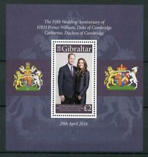 Gibraltar 2016 MNH Prince William & Kate 5th Wedding Anniv 1v S/S Royalty Stamps