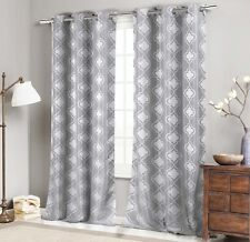 """Two (2) Jacquard Window Curtain Panel Set: Grommets, Silver Gray Moroccan, 96""""L"""