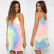 Womens Tie-dye Mini Dress Summer Beach Party Holiday Strappy Loose Tops Sundress