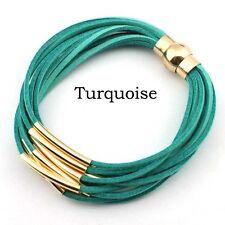 Velvet Leather Gold Plated Copper Tube Multi Layered Strand Magnet Wrap Bracelet