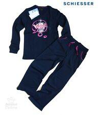 """SCHIESSER langer Schlafanzug / Pyjama Gr. 122/128 """"WOW"""" in pink/navy NEU"""