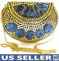 Handmade💕 Gold Dots & Blue Marble Metal Bag UNIQUE Evening Clutch Purse w/Strap