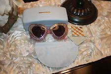 Karen Walker Pink Metallic Silver Skull Detail Cat Eye Sunglasses