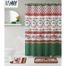 VCNY Holiday Themed Christmas Holly 15-piece Shower Curtain & Bath Set