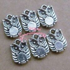 P0098/12pc Retro Tibetan Silver Charms 2-Sided Owl Accessories Jewelry Findings