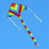 NEW 39In 1m Rainbow long tail triangle kite Children's toys Outdoor fun Sports