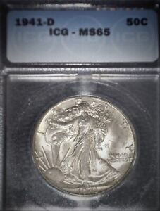 1941-D Walking Liberty Half Dollar ICG-MS65 , A Beautiful Issue Free Coin !!