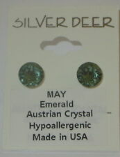 Green Emerald Austrian Crystal Earrings 8mm Pierced Hypo May Birthstone USA