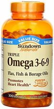 Sundown Omega 3-6-9 Triple Softgel 200 ct, Promotes Heart Health
