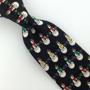 DOCKERS Blk Wht Ornament SNOWMAN Christmas Silk Boy Child Necktie Tie X6-312 New